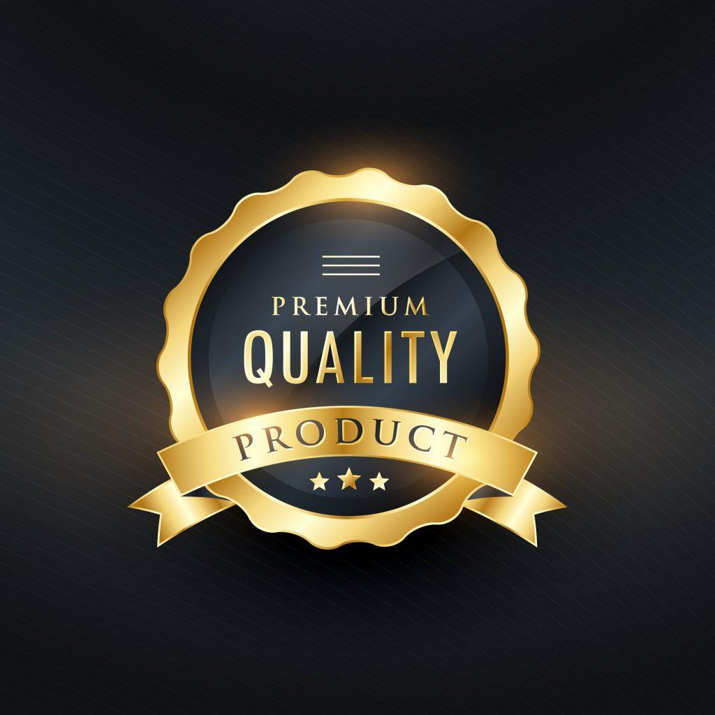premium quality product golden label design